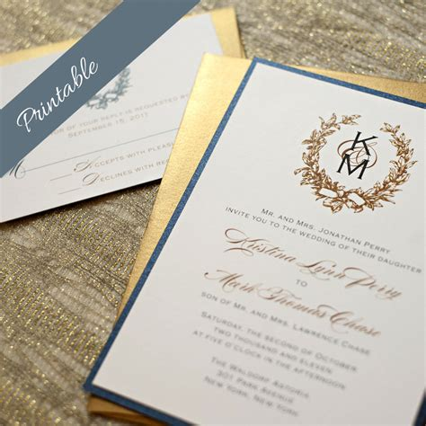 monogram wedding invitations printable wedding invitations monogram by edenweddingstudio