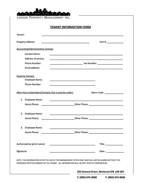 tenant information sheet template tenant information form tenant application formproperty