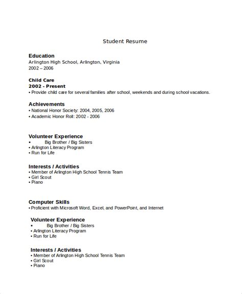 sle high school student resume for college 10 high school resume templates exles sles format