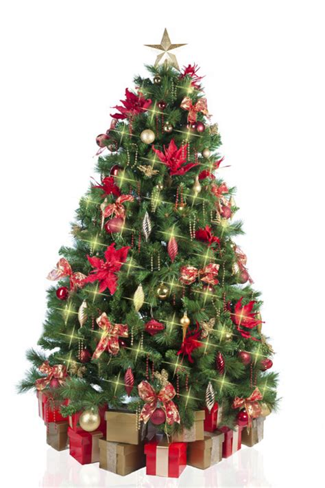 christmas tree with red gold decorations