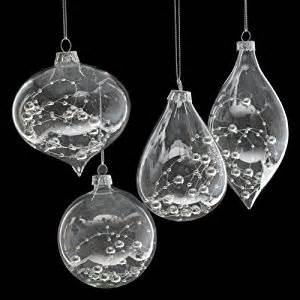 set of 4 glass christmas tree decorations with silver