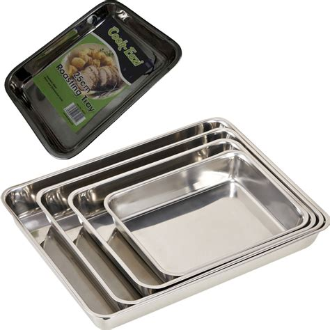 Aluminium Foil Tray Oven 5cm X 8cm X 4cmwadah Alumunium Foil 3xstainless steel baking roasting cooking tray set