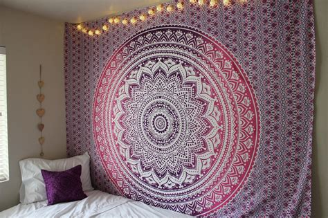 Light Blue Duvet Cover Purple Ombre Mandala Cotton Wall Tapestry Bedding