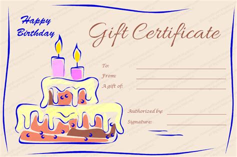gift card birthday template gift certificate templates