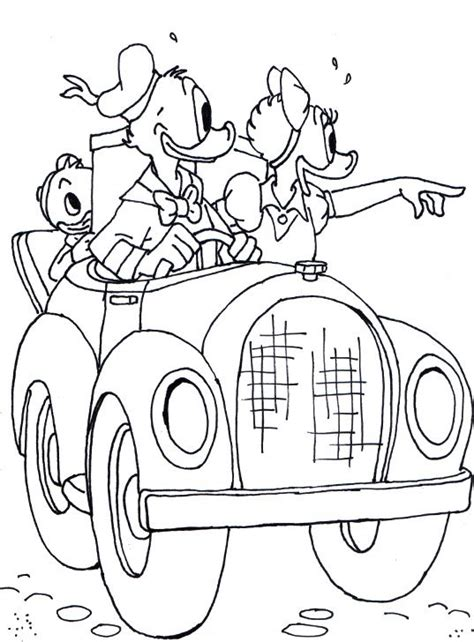 donald driving car  daisy coloring page mickey