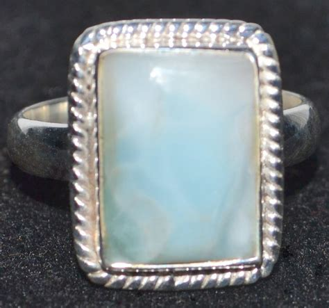 larimar sterling silver ring gemstone unique handmade