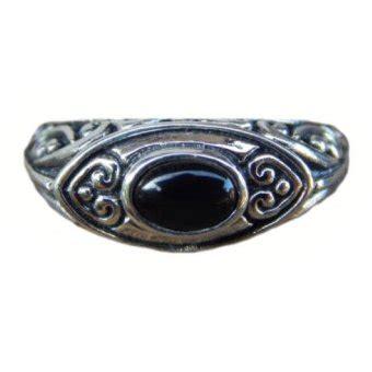 Cincin Perak Bali Black Onyx jnanacrafts cincin perak motif ukiran patra bali batu
