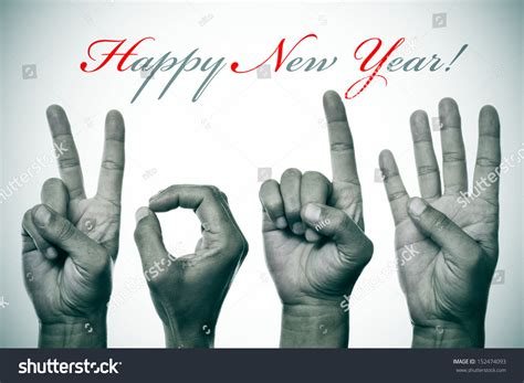 sentence happy new year hands forming stock photo