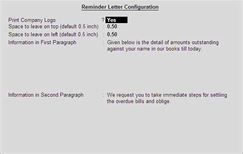 Payment Reminder Letter In Tally Erp 9 Reminder Letters Printing Configuration In Tally Erp 9