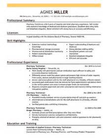 Production Pharmacist Sle Resume by Pharmacy Technician Resume Exles Sle Resumes Livecareer Work