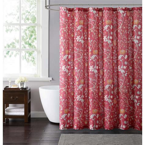 neutral shower curtain style 212 bedford 72 in red and neutral shower curtain