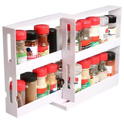 Spice Rack Swivel spice bottles swivel store kitchen tidy holder tray shelf cabinet organizer ebay