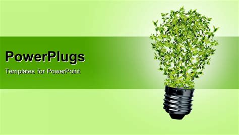 energy powerpoint template green bulb as symbol of sustainable energy and nature