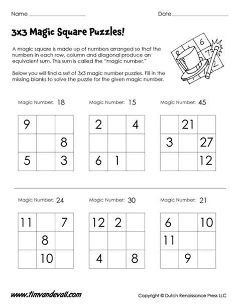 Easy Magic Squares Worksheet by Magic Squares Worksheets 3x3 4x4 Magic Square Puzzle