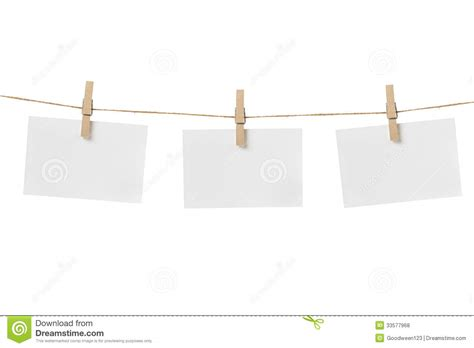 How To Make Hanging With Paper - paper cards hanging on the rope stock photo image 33577968