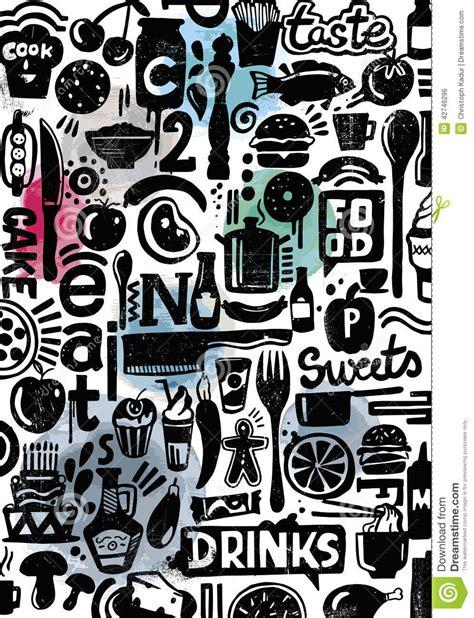doodle digital black doodle of kitchen equipment stock illustration
