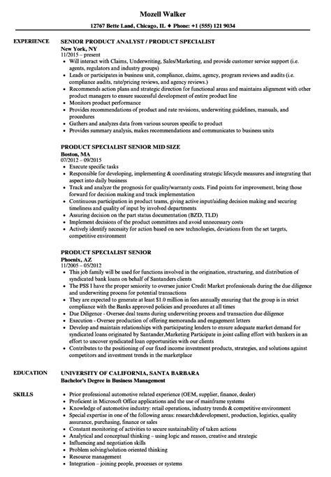 product specialist senior resume sles velvet