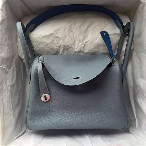 Hermes Lindy 7 112 j7 blue 7q cribe blue togo leather hermes lindy bag