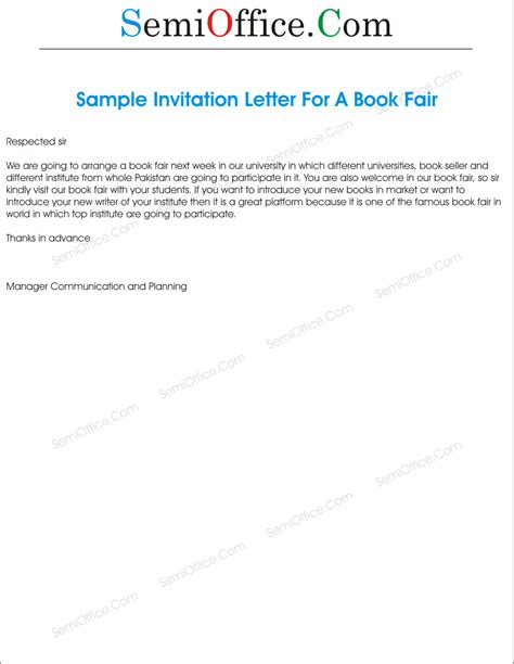 Invitation Letter To Visit Our Office Invitation Letter To Visit Book Fair