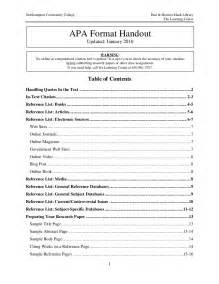 table of contents apa style