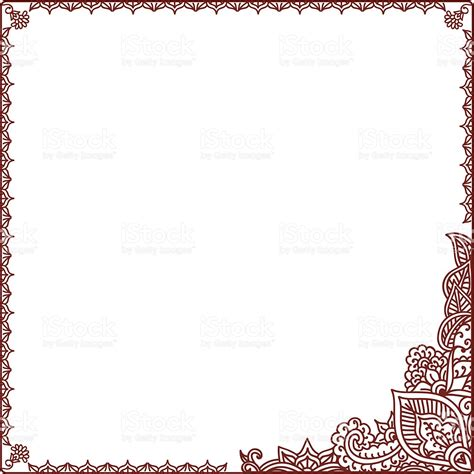 mehndi clipart border pencil and in color mehndi clipart