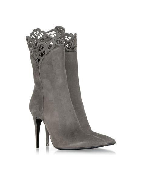 grey high heel booties loriblu gray suede high heel bootie in gray lyst