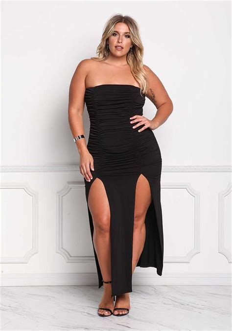 Fashion Wanita Slit Maxi Terlaris plus size clothing plus size strapless ruched slit maxi dress debshops fashion for curvy