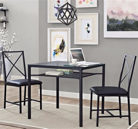 glass breakfast table set kitchen 3 dining set metal glass table chair seats