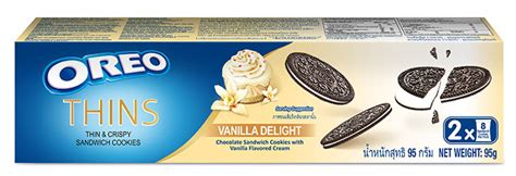 Oreo Thins Vanila Flavour 95g thinnovation discover the new thin twist in oreo thins