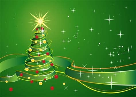 wallpaper bintang hijau latar belakang natal dengan pita bintang dan hijau vektor