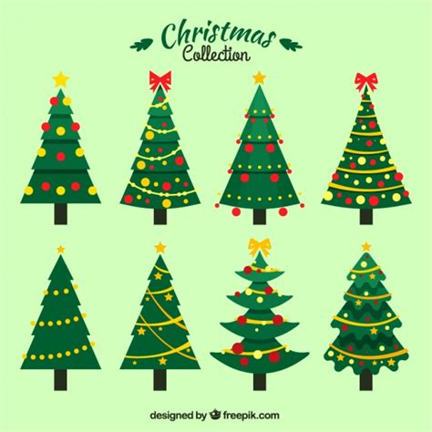 set of christmas trees with ornaments vector free download