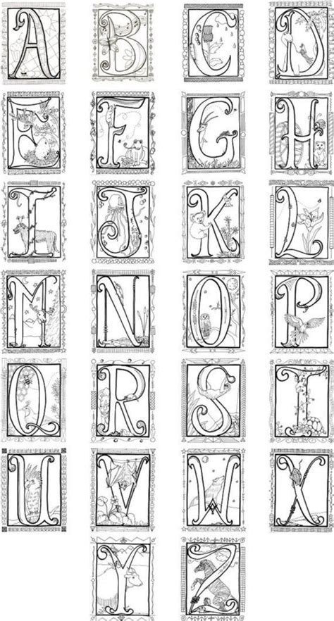 printable manuscript letters printable illuminated letters coloring pages 4