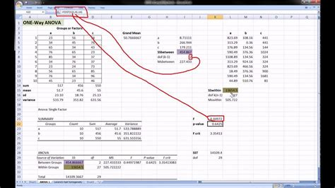 excel 2010 anova tutorial excel anova with sum of squares calculations youtube