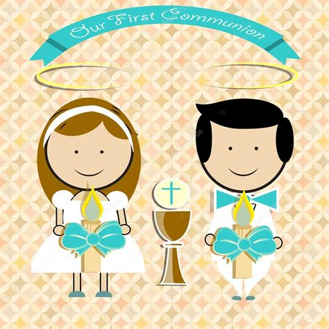 A Pair Of Childrens pair of children making first communion stock vector