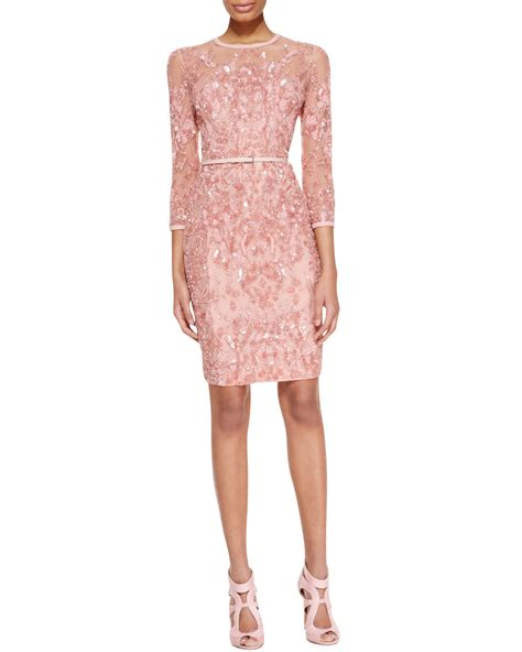 beaded blush dress elie saab 3 4 sleeve beaded embellished dress in pink