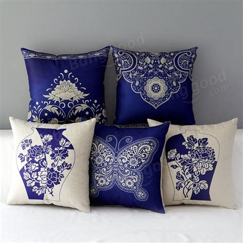 chinoiserie flower decorative pillows best bed rest chinoiserie blue butterfly porcelain flower pillow case