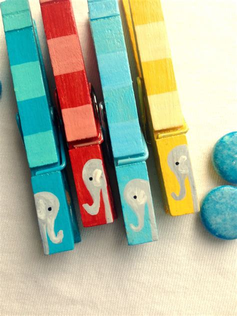 Thematic Magnet Puzzle Circus baby elephant clothespins circus theme painted magnetic