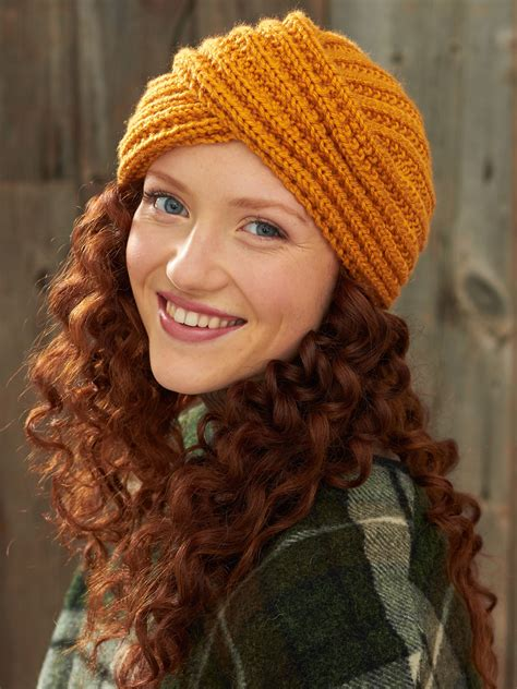knit turban bernat turban twist hat knit pattern yarnspirations