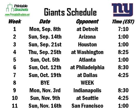 printable giants schedule giants schedule new york giants schedule