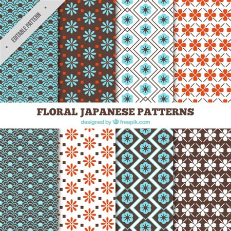 japanese pattern free download japanese floral patterns full color vector free download
