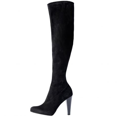 knee high black heel boots kaiser pola black suede stretch the knee high