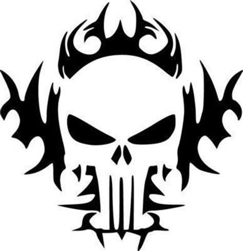 punisher tribal skull die cut vinyl sticker decal