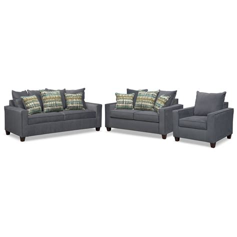 Sofa Sleeper Sets Bryden Innerspring Sleeper Sofa Loveseat And Chair Set Slate American Signature Furniture