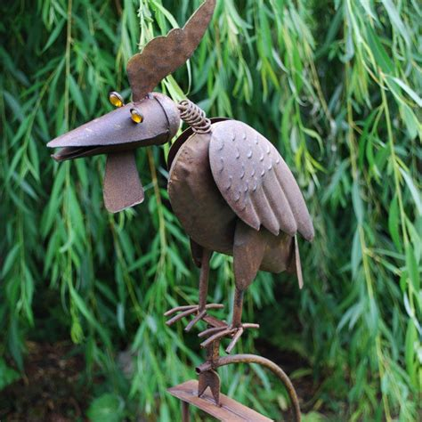 large metal rocking cockerel bird moving garden ornament