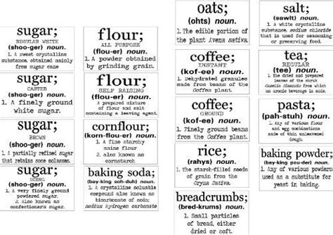 amazon com basics definition vintage font flour sugar oats rice sugar flour etc definition jar labels by wall sayings