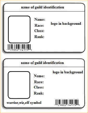 identity card template word id card template word template