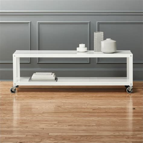 go cart white rolling tv stand/coffee table   CB2