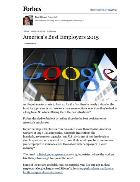 Best Mba Programs 2015 Forbes by Forbes America S Best Employers 2015 Pdf2