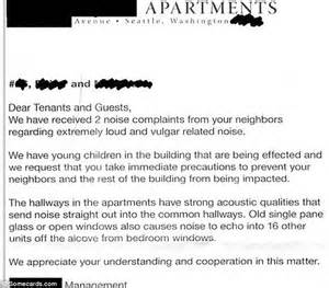 Complaint Letter Loud Neighbors Hilarious Notes Pleading With Neighbours To Keep It During Daily Mail