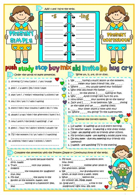 printable worksheets present simple and continuous present simple vs present continuous worksheet free esl